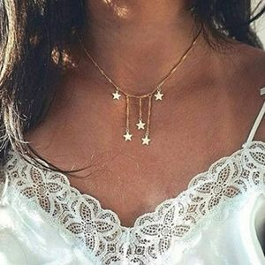 Boho Dainty layered gold falling stars necklace..N